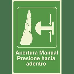 Señales de Evacuación - Apertura Manual Presione hacia adentro - Fotoluminiscente