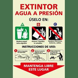 Señales informativas - Extintor Agua a Presión