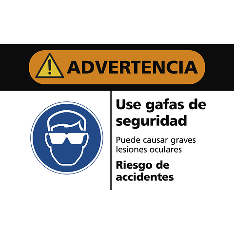 Señales de Advertencia - Use gafas de seguridad
