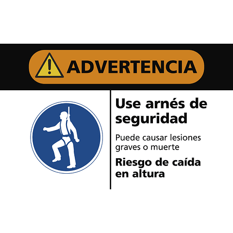 Señales de Advertencia - Use arnés de seguridad