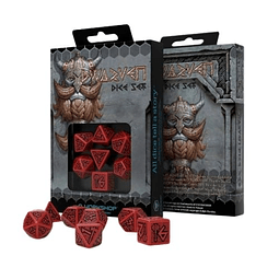 Set 7 Dados Q Workshop Dwarven Rojo/Negro