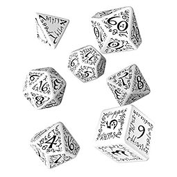 Set 7 dados Q Workshop Elvish Blanco / Negro