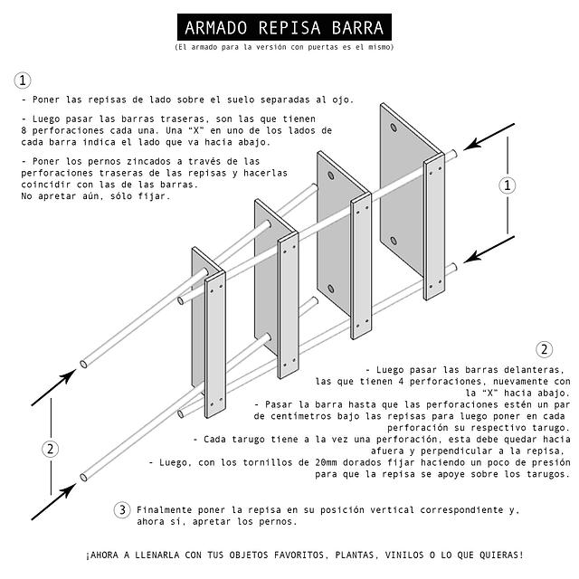 Repisa Barra con Puertas / Colores a Elección