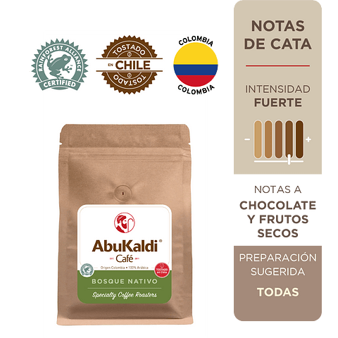 Café Bosque Nativo, grano 250g.