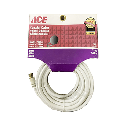 Cable Coaxial 25Ft   7.62 Mts Rg6  Blanco Ace