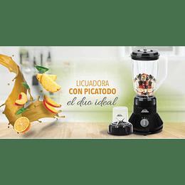 Licuadora Duo Mix Negra de 2 Vel + Pulso & Picatodo