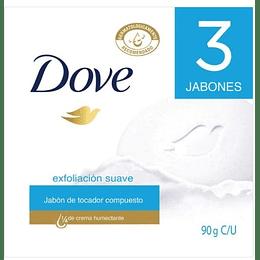 Jabón Dove Exfoliación  Suave x 3Un x 90g