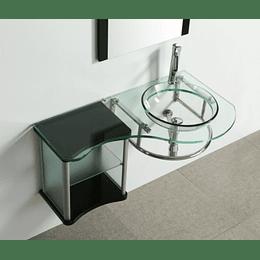 Mueble Lavamanos De Baño En Acero y Vidrio OL 5047