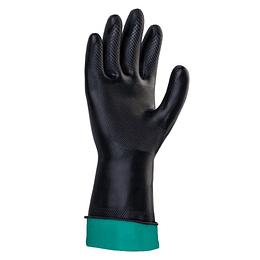 Guante Plastico Industrial Bicolor Negro Talla 8 Cal 25