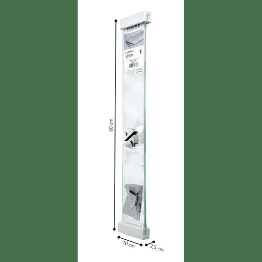 Repisa Recta De Vidrio Vetro 0,8X10X60Cm Con Soporte Cromado