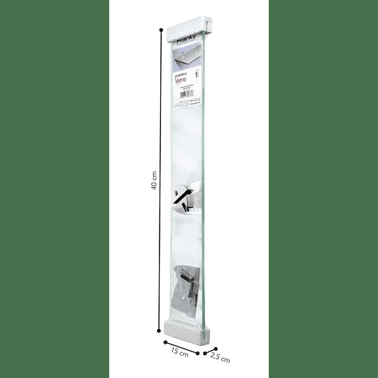 Repisa Recta De Vidrio Vetro 0,8X15X40Cm Con Soporte Cromado