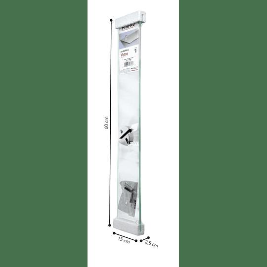 Repisa Recta De Vidrio Vetro 0,8X15X60Cm Con Soporte Cromado