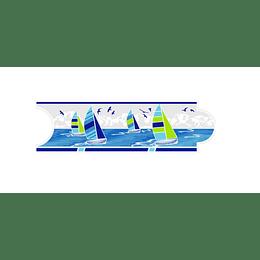 Listello para Baño Nuevo Velero Azul 8 x 25 cm