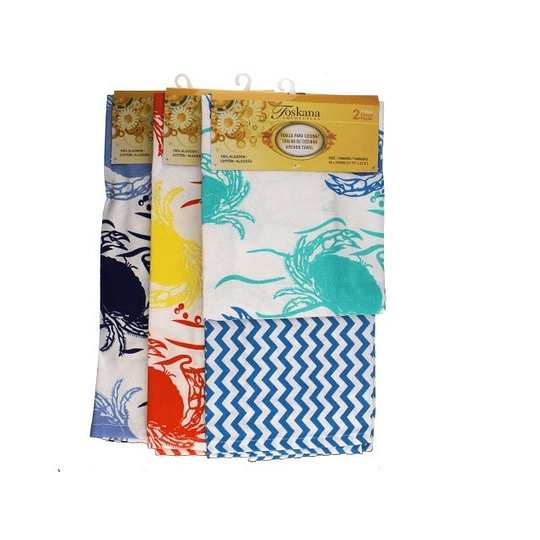 Toallas para Cocina Diseño de Cangrejos por 2 Und