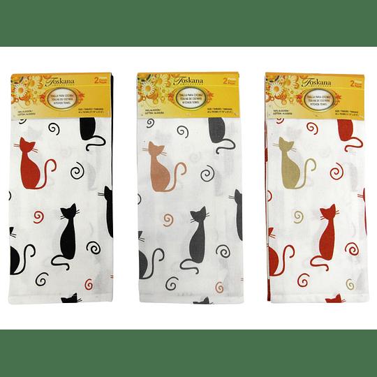 Toallas para Cocina Diseño de Gatos por 2 Und
