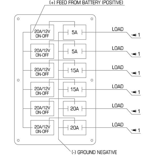 Panel de interruptores de 6 bandas