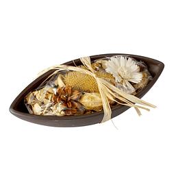 Pote de Canoa Decorativo con Flores Secas
