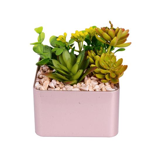 Planta Artificial Verde con Maceta 9.5 x 9.5 x 11.5 cm