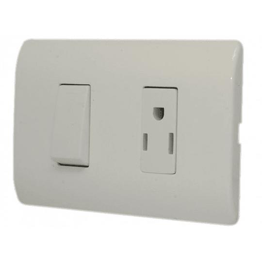 Interruptor Sencillo + Tomacorriente Americano (2P+T) Génesis