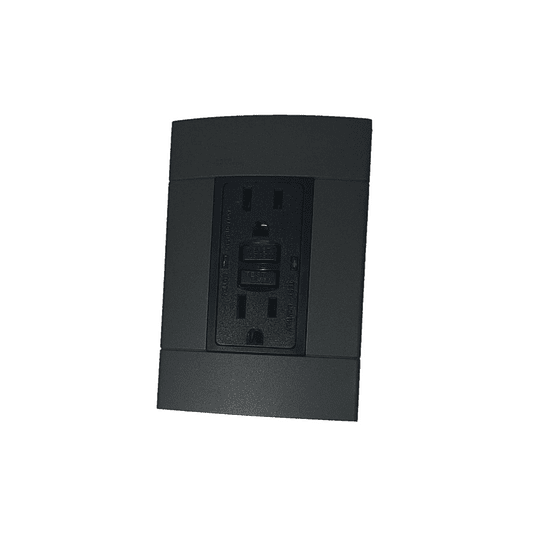 Tomacorriente Tipo Gfci 15A + Placa Decorativa Negro Decor