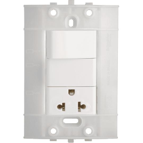 Interruptor Sencillo + Tomacorriente con Polo a Tierra (2P + T) Blanco Decor