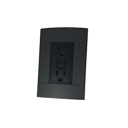 Tomacorriente Tipo Gfci 15A Negra + Placa Decorativa Color Onix Decor
