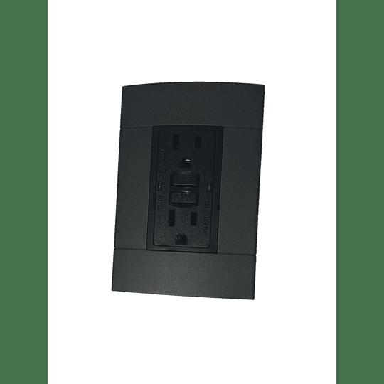 Tomacorriente Tipo Gfci 15A Negra + Placa Decorativa Color Onix Decor