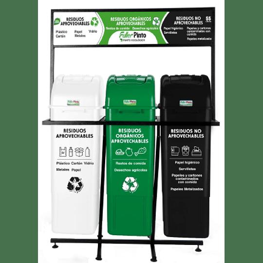 Punto Ecologico 55 Litros 3 Puestos (Verde, Blanco Y Negro) Con Estructura