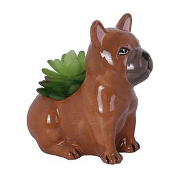 Planta Artificial con Maceta de Perro