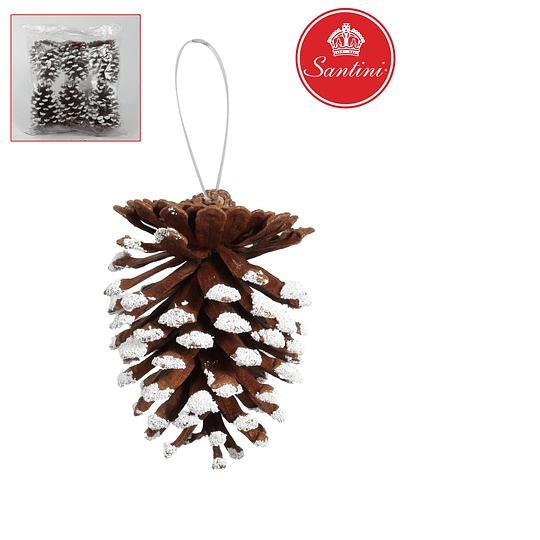 Adorno Navideño Nuez con Nieve Artificial Decorativa