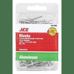 "Remaches En Aluminio 1/8"" Rango 3/8-1/2 X 100 Unid"