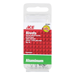 "Remaches En Aluminio 1/8"" Rango 3/16-1/4 x 20 Unid"