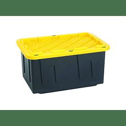 Caja De Almacenamiento Negra Con Tapa Amarilla
