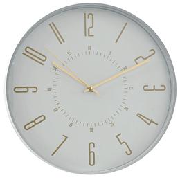 Reloj De Pared Blanco Números Dorados 31.5Cm