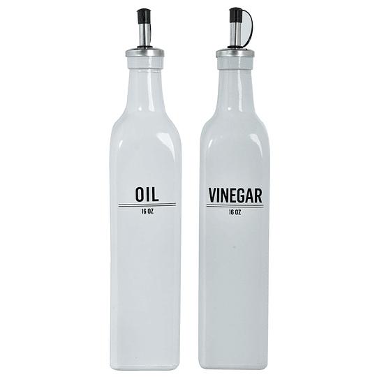 Aceitero/Vinagrero Blanco Con Tapa Surtido 16Oz