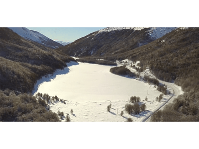 Aerial Video Aysén Winter # 11 (frozen chiguay lake)
