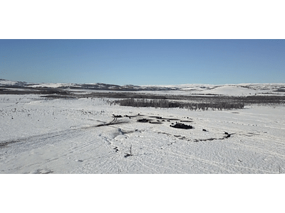 Aerial Video Aysén Winter # 23 (fields in winter)