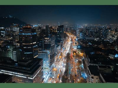 Aerial photo Santiago downtown night DJI_0058