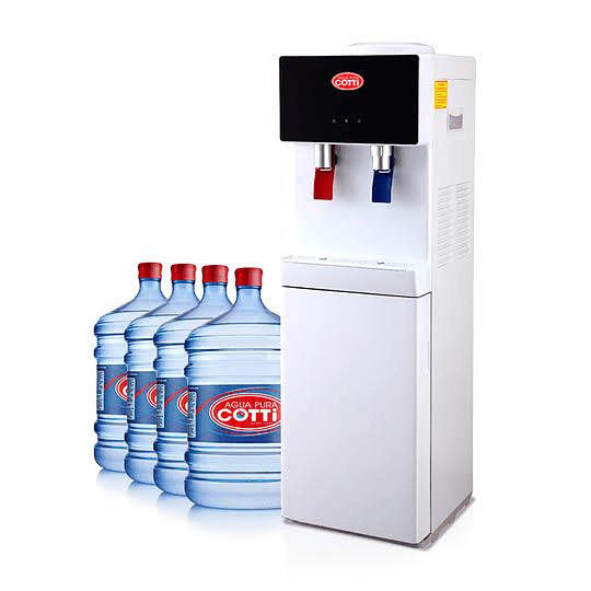 Plan Dispensador pedestal con 4 botellones iniciales y reposición de 3 botellones mensuales