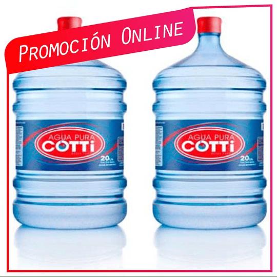 Promoción Pack 2 botellones 20 litros  Ahora $10.900 Antes $12.900