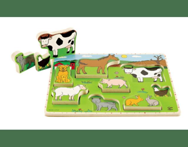 Puzzle encaje tarugo animales de la granja