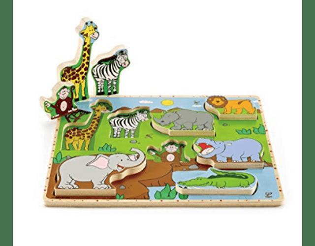 Puzzle encaje tarugo animales de la selva