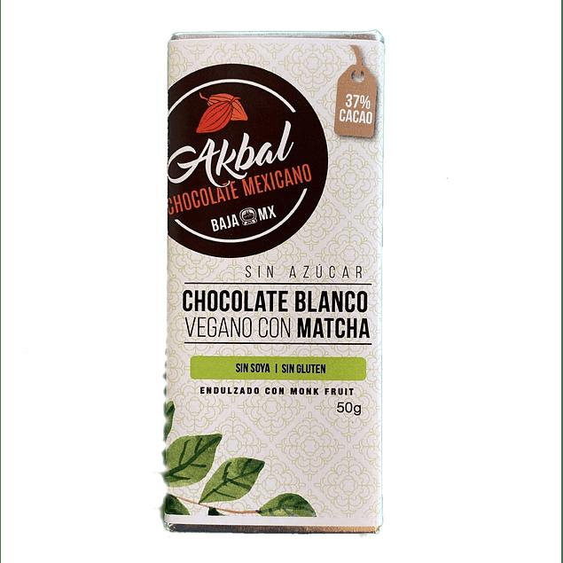 Vegan white chocolate with matcha and monk fruit