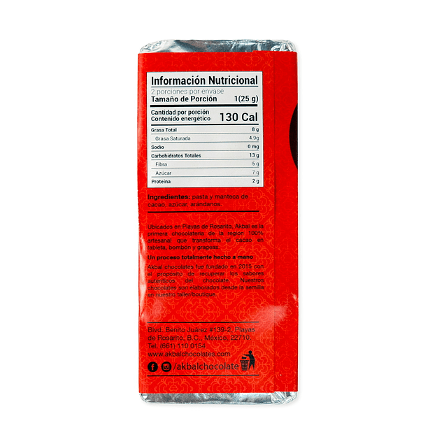 Chocolate oscuro 72% con arandanos