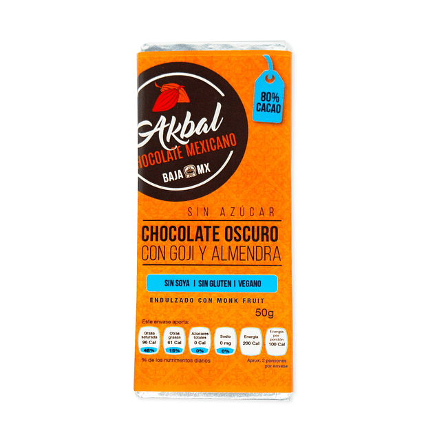 80% cocoa with goji and unsweetened almonds.
