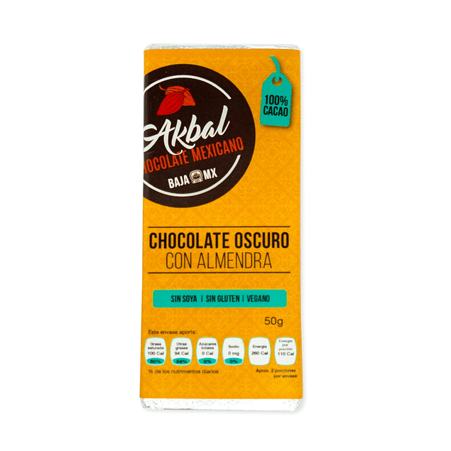 100% cocoa chocolate with almonds