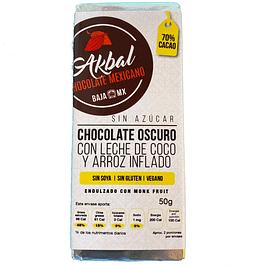 Chocolate con leche de coco y arroz inflado