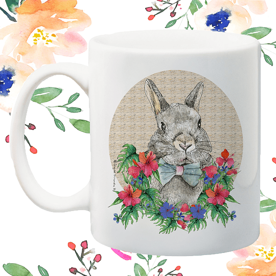 Tazón Clásico Conejo Flores