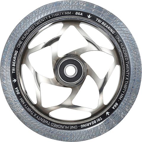 Tri Bearing Wheel 120mm x 30mm Chrome Clear