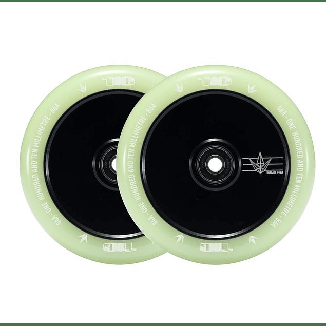 Envy 110mm wheels hollow core glow black